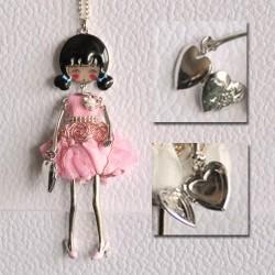 Collier MARTE rose avec sac-coeur qui s'ouvre !